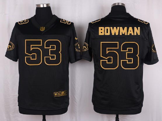 mens nfl San Francisco 49ers #53 NaVorro Bowman black gold super bowl 50 elite jersey