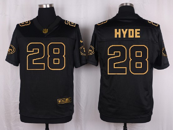 Mens Nfl San Francisco 49ers #28 Hyde Black Gold Super Bowl 50 Elite Jersey
