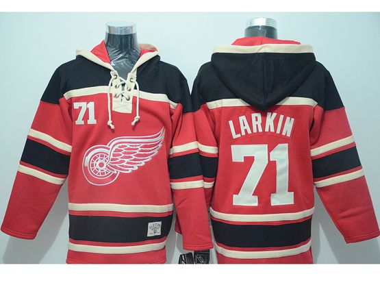 Mens nhl detroit red wings #71 larkin red hoodie Jersey