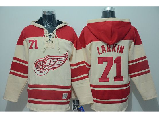 Mens nhl detroit red wings #71 larkin cream hoodie Jersey