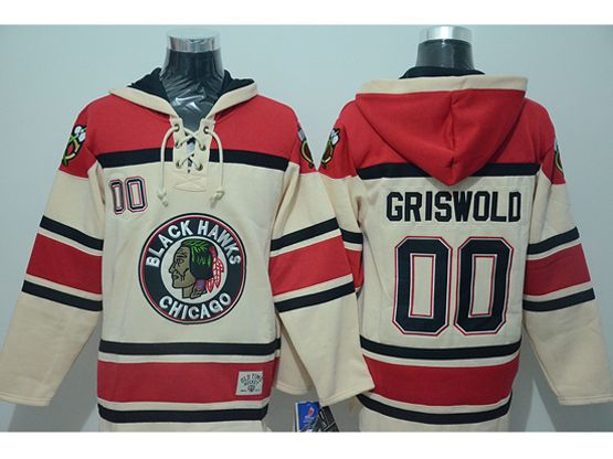 Mens nhl chicago blackhawks #00 griswold cream hoodie Jersey