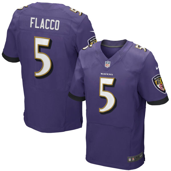 Mens Nfl Baltimore Ravens #5 Joe Flacco (2014 New Fl) Purple Elite Jersey
