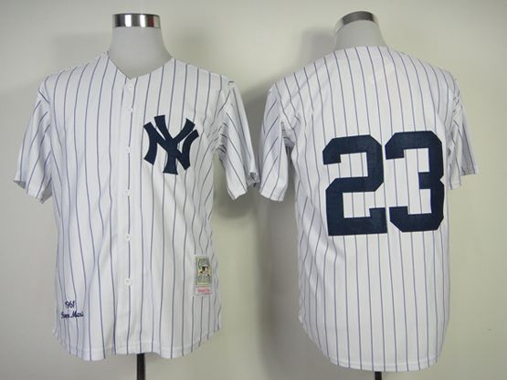 Mens Mlb New York Yankees #23 Mattingly White Throwbacks Jersey