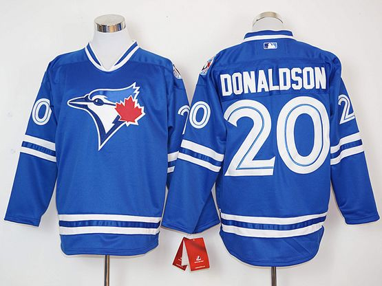 Mens Mlb Toronto Blue Jays #20 Josh Donaldson Blue Long Sleeve Jersey