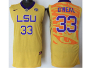 Mens Ncaa Nba Lsu Tigers #33 Shaquille O'neal Yellow Jersey