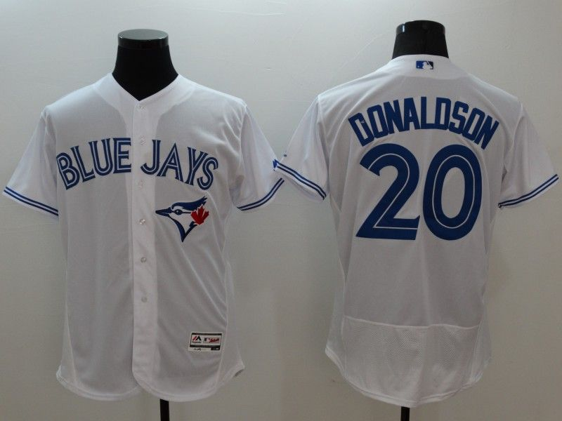 Mens Majestic Toronto Blue Jays #20 Josh Donaldson White Flexbase Collection Jersey