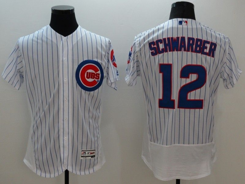 mens majestic chicago cubs #12 kyle schwarber white stripe Flex Base jersey