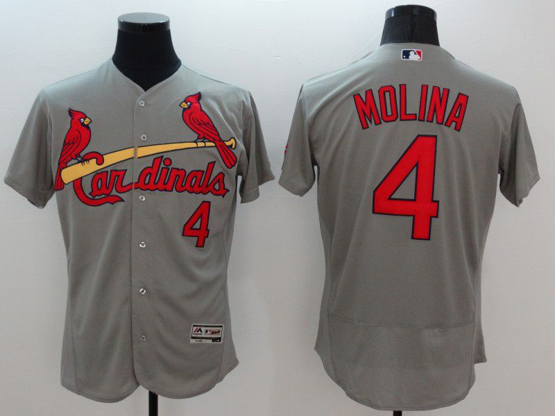 mens mlb st.louis cardinals #4 yadier molina gray Flex Base jersey