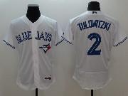 mens majestic toronto blue jays #2 troy tulowitzki white Flex Base jersey