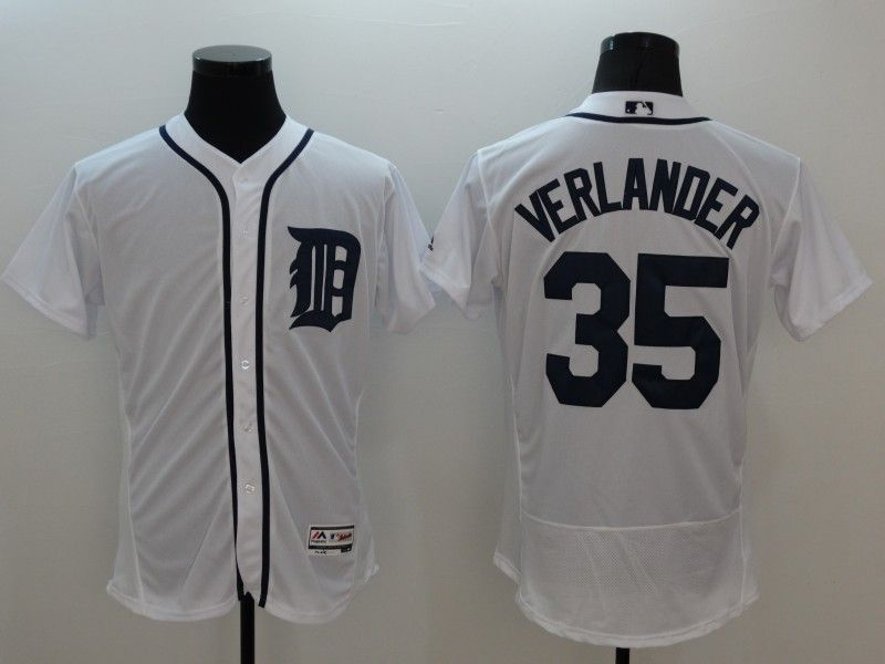 mens majestic detroit tigers #35 justin verlander white Flex Base jersey