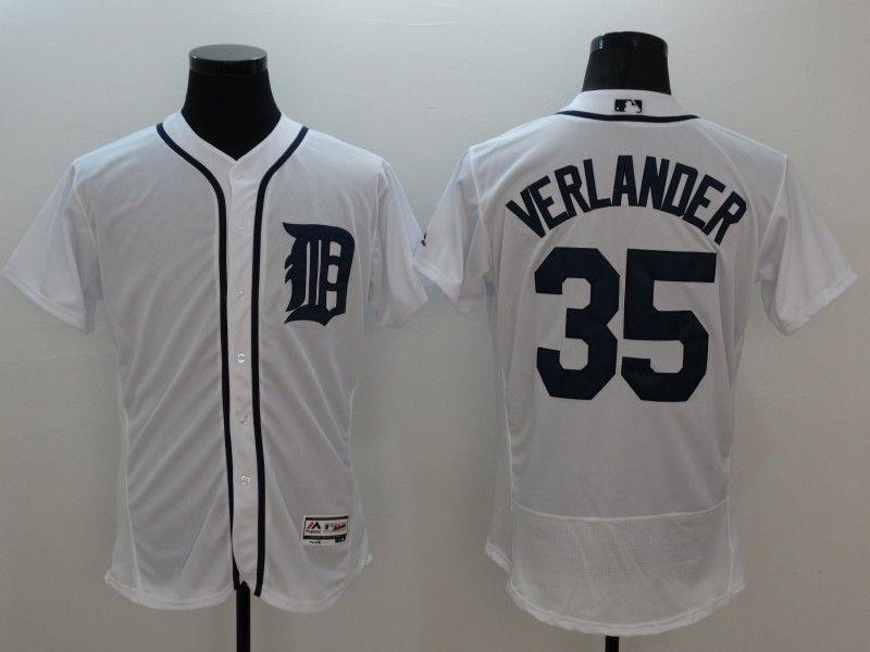 Mens Majestic Detroit Tigers #35 Justin Verlander White Flexbase Collection Jersey