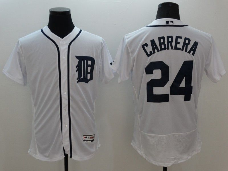 Mens Majestic Detroit Tigers #24 Miguel Cabrera White Flexbase Collection Jersey