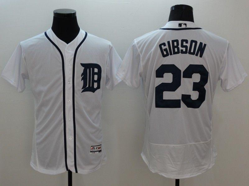 mens majestic detroit tigers #23 kirk gibson white Flex Base jersey