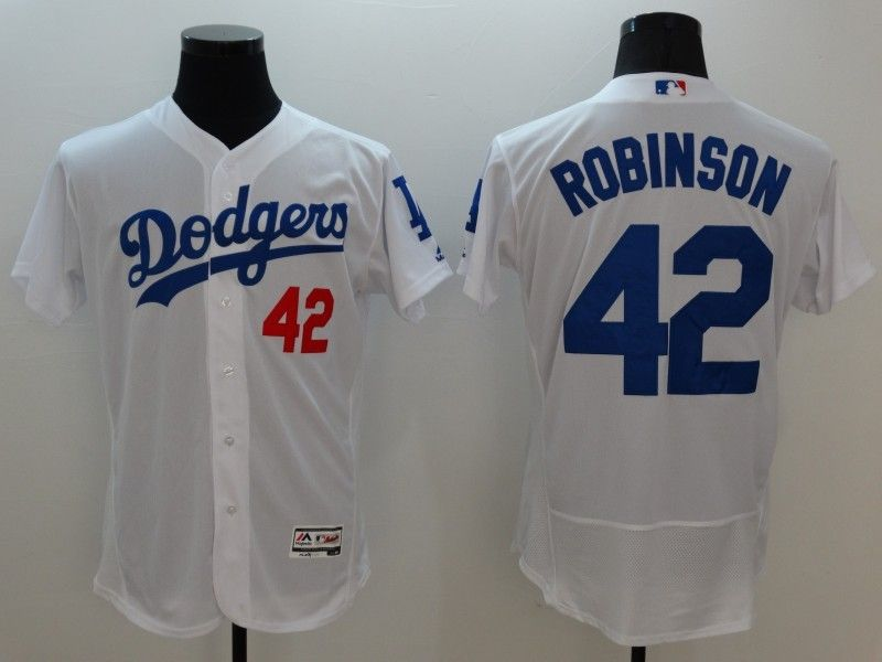 mens majestic los angeles dodgers #42 ackie robinson white Flex Base jersey