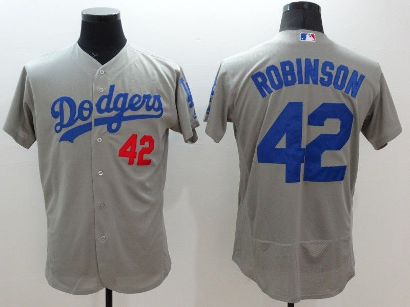 Mens Majestic Los Angeles Dodgers #42 Ackie Robinson Gray Flexbase Collection Jersey