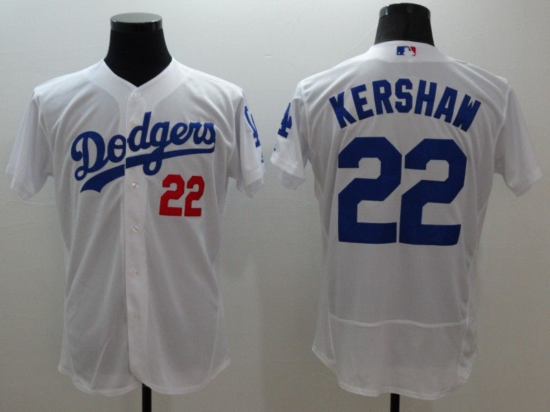 mens majestic los angeles dodgers #22 clayton kershaw white Flex Base jersey