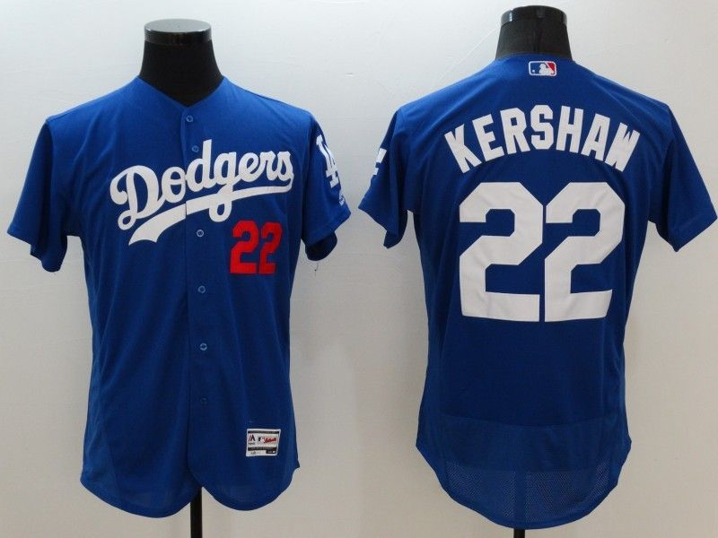 Mens Majestic Los Angeles Dodgers #22 Clayton Kershaw Blue Flexbase Collection Jersey
