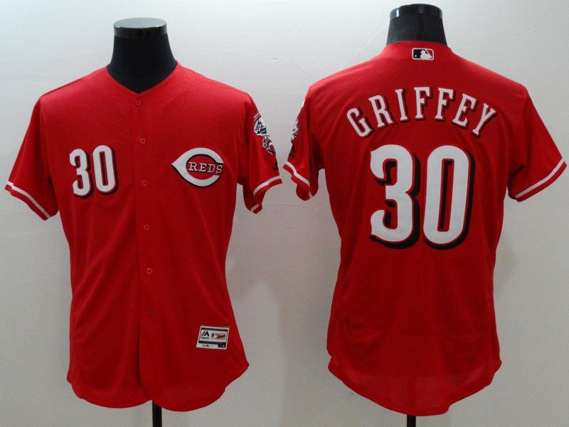 mens majestic cincinnati reds #30 ken grifrfey jr red Flex Base jersey