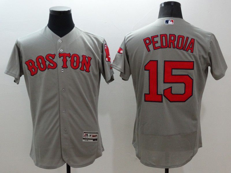 mens majestic boston red sox #15 dustin pedroia gray Flex Base jersey