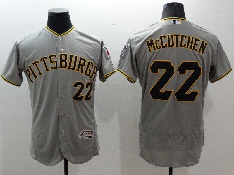 mens majestic pittsburgh pirates #22 andrew mccutchen gray Flex Base jersey