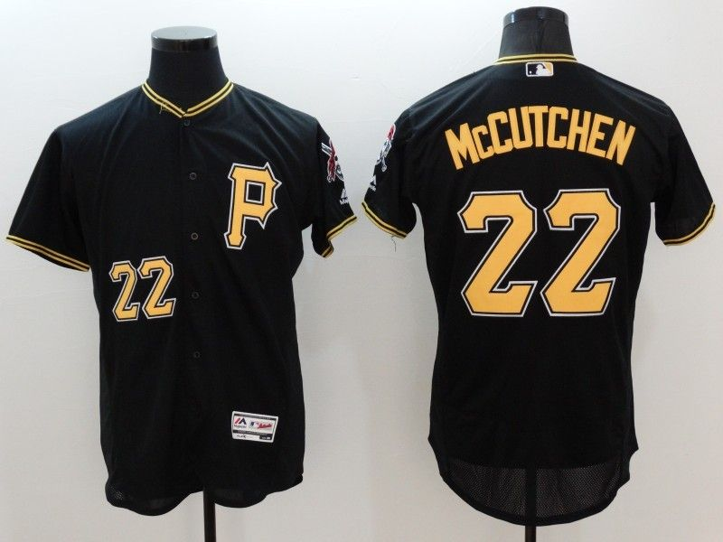 mens majestic pittsburgh pirates #22 andrew mccutchen black Flex Base jersey(p)