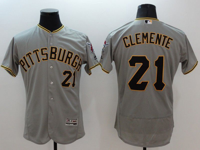 Mens Majestic Pittsburgh Pirates #21 Roberto Clemente Gray Flexbase Collection Jersey
