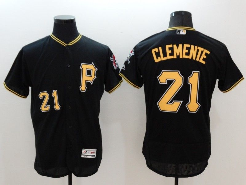 mens majestic pittsburgh pirates #21 roberto clemente black Flex Base jersey