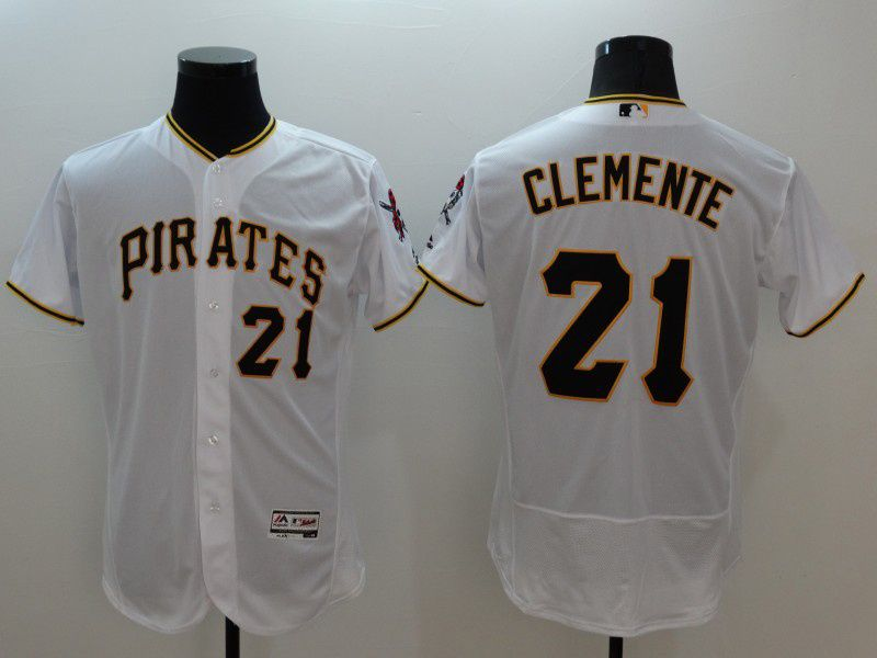 mens majestic pittsburgh pirates #21 roberto clemente white Flex Base jersey