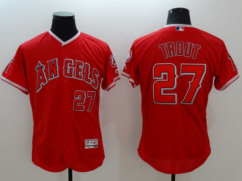 mens majestic los angeles angels #27 mike trout red Flex Base jersey