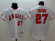 mens majestic los angeles angels #27 mike trout white Flex Base jersey