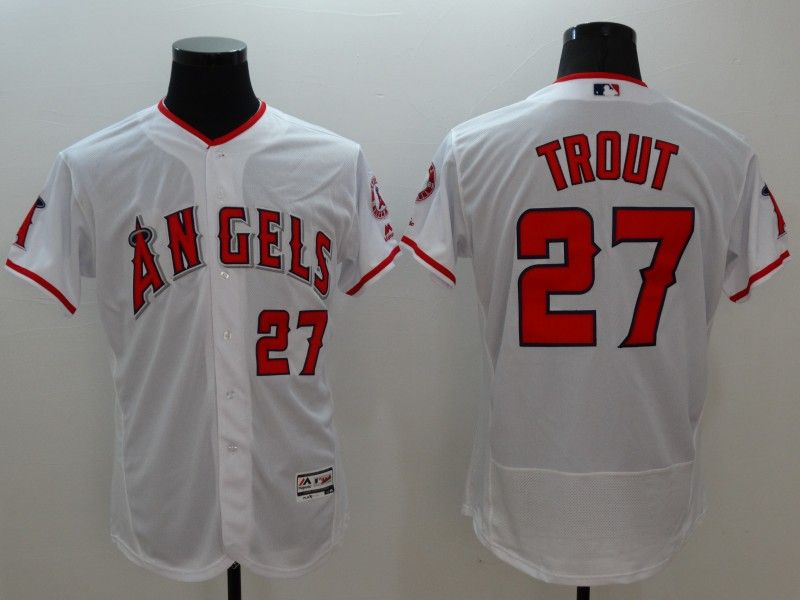 Mens Majestic Los Angeles Angels #27 Mike Trout White Flexbase Collection Jersey