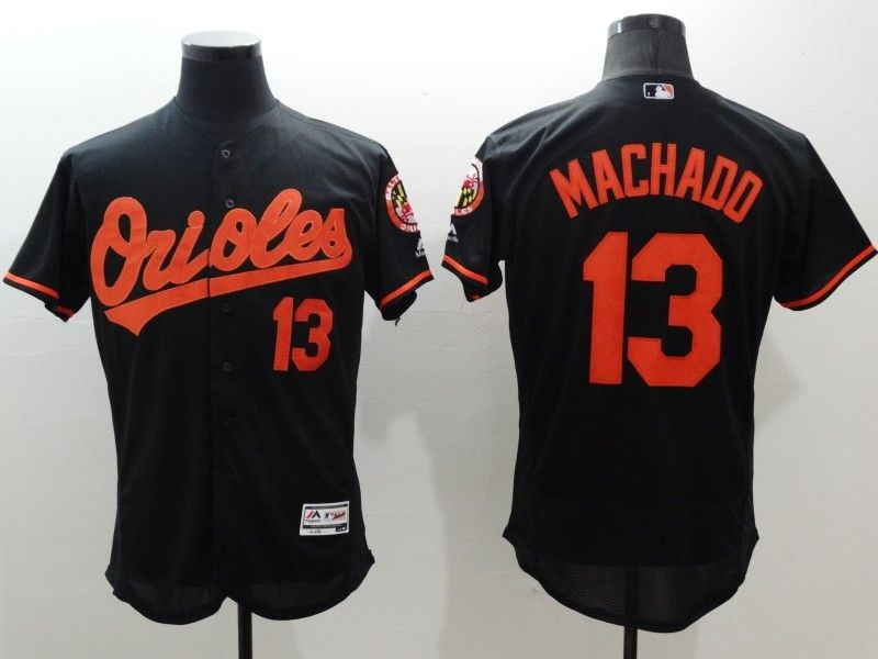 mens majestic baltimore orioles #13 manny machado black Flex Base jersey