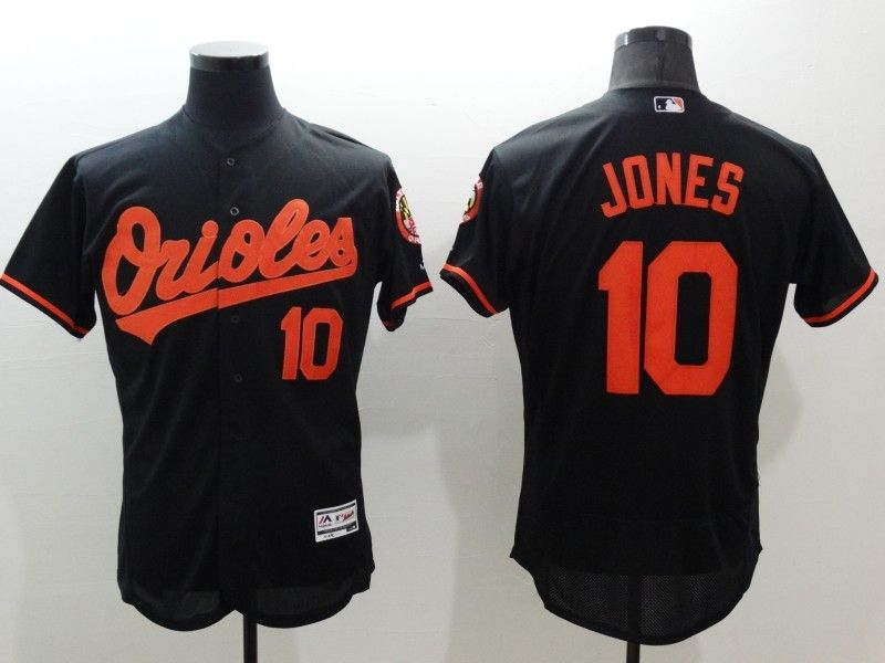 Mens Majestic Baltimore Orioles #10 Adam Jones Black Flexbase Collection Jersey