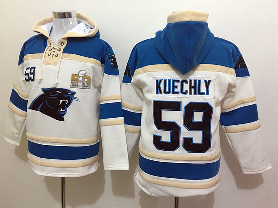 Mens Nfl Carolina Panthers #59 Kuechly White Super Bowl 50 Bound Hoodie Jersey