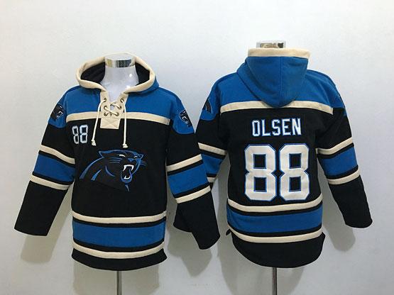 Mens Nfl Carolina Panthers #88 Olsen Black Hoodie Jersey