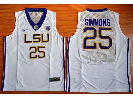 Mens Ncaa Nba Lsu Tigers #25 Ben Simmons White Jersey