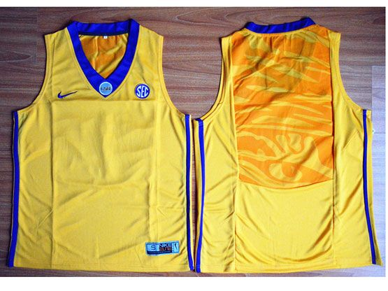 Mens Ncaa Nba Lsu Tigers Blank Gold Basketball Elite Jersey