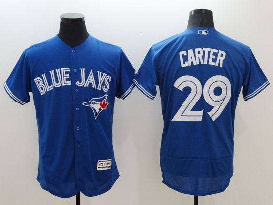 mens majestic toronto blue jays #29 joe carter blue Flex Base jersey