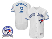 mens majestic toronto blue jays #2 troy tulowitzki white 40th anniversary Flex Base jersey