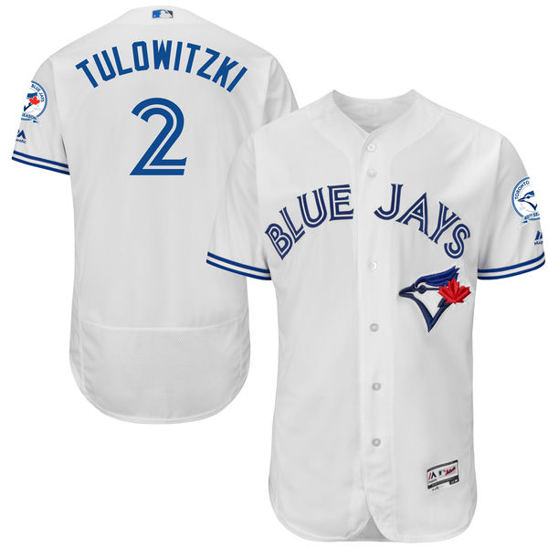 mens majestic toronto blue jays #2 troy tulowitzki white 40th anniversary Flex Base jersey