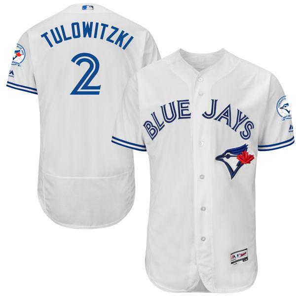 Mens Majestic Toronto Blue Jays #2 Troy Tulowitzki White 40th Anniversary Flexbase Collection Jersey