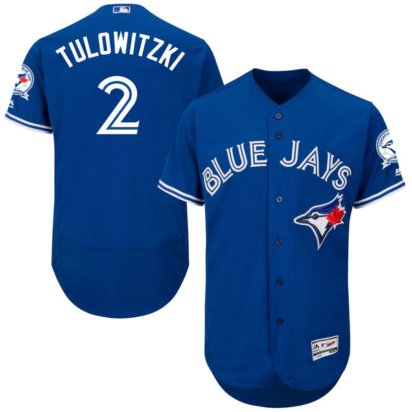 mens majestic toronto blue jays #2 troy tulowitzki blue 40th anniversary Flex Base jersey