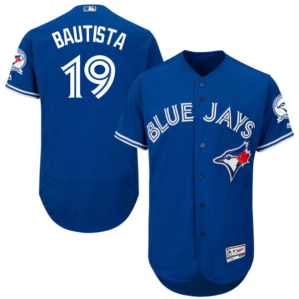 mens majestic toronto blue jays #19 jose bautista blue 40th anniversary Flex Base jersey