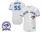 mens majestic toronto blue jays #55 russell martin white 40th anniversary Flex Base jersey