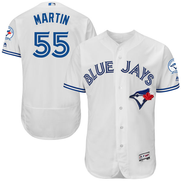 mens majestic toronto blue jays #55 russell martin white 40th anniversary Flex Base jersey