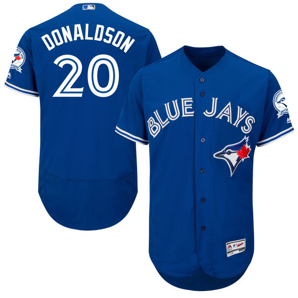 mens majestic toronto blue jays #20 josh donaldson blue 40th anniversary Flex Base jersey