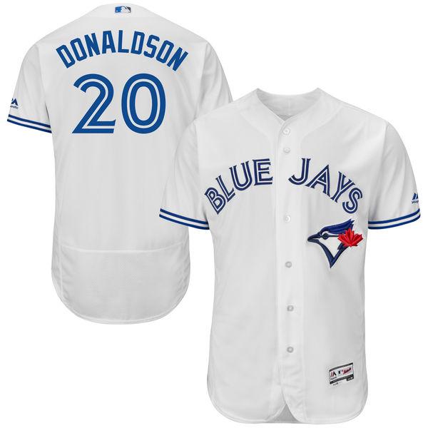 mens majestic toronto blue jays #20 josh donaldson white 40th anniversary Flex Base jersey