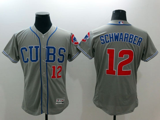 mens majestic chicago cubs #12 kyle schwarber gray Flex Base jersey