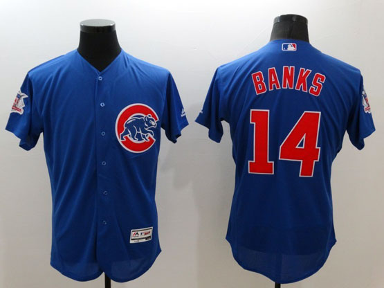 Mens Majestic Chicago Cubs #14 Banks Blue Flexbase Collection Jersey