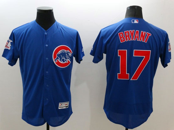 Mens Majestic Chicago Cubs #17 Bryant Blue Flexbase Collection Jersey